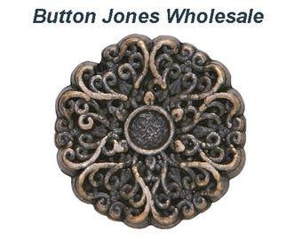 50 pcs. Lace 11/16 inch (18 mm) Metal Buttons Antique Brass Color