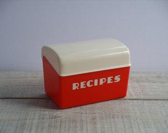 Vintage Lustro Ware Red & White Plastic Recipe Box ~ Classic Mid Century Kitchen Storage ~ Retro LustroWare
