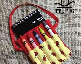 Ladybug Crayon and Notepad Holder