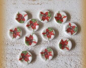 Set of 6 porcelain buttons of 18mm