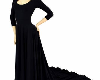 Black Zen Soft Knit A-line Puddle Train Gown w/ Scoop Neckline & 3/4 Sleeves 152106