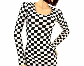 UV Glow Black & White Checkered Winners Flag Print Spandex  Bodycon Clubwear Long Sleeve Mini Dress 150265
