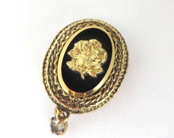 Rose Cameo Pin, Vintage Gold Tone, Black Lapel Pin, Buttonhole Brooch