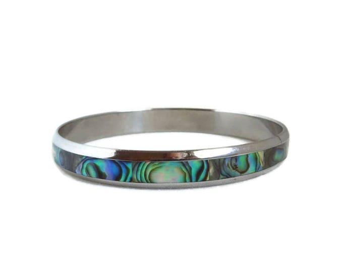 Abalone Shell Bracelet, Vintage Silver Tone Skinny Bangle, Abalone Inlay Bracelet, Gift Idea for Her