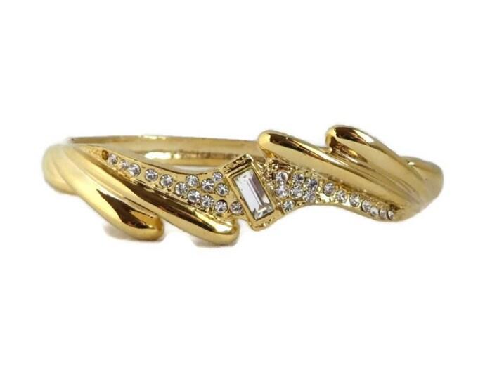 Goldtone Rhinestone Bangle, Vintage Hinged Bracelet, Bridal Jewelry Gift Idea for Her