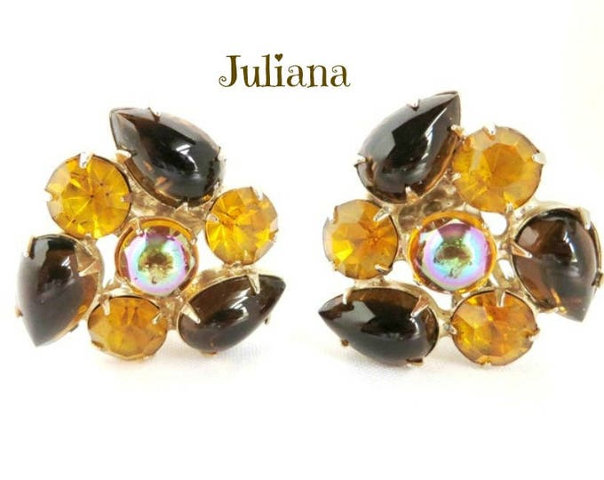 Juliana Amber Earrings, Vintage Rhinestone Amber Brown Gold Tone Clip-on Designer Earrings