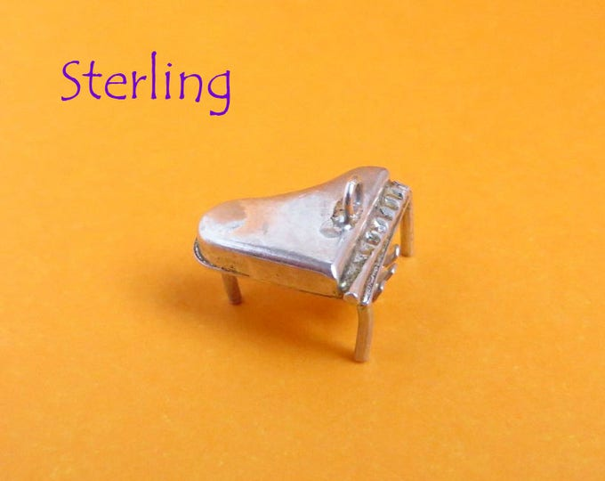 Sterling Piano Charm - Vintage 3D Grand Piano Charm, Pendant, Gift Idea