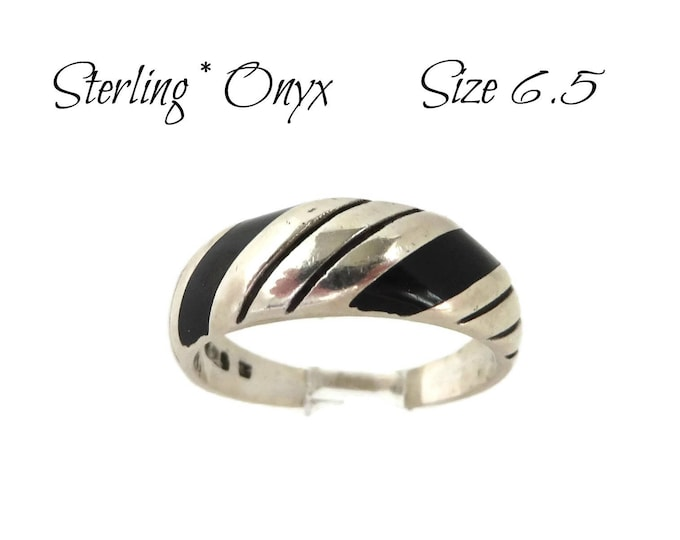 Vintage Onyx Sterling Silver Ring | Black Onyx Inlay Band | Size 6.5