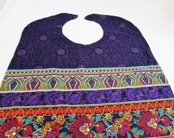 Reversible Adult Bib - Handmade - Purple Red Green and Aqua