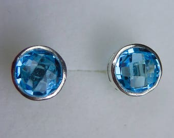 Natural swiss blue Topaz 925 sterling silver, 9ct 14k 18k 375 585 750 white yellow rose gold engagement studs earrings