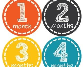 Monthly Baby Milestone Stickers Baby Boy Baby Shower Gift One-Piece Baby Stickers Monthly Baby Stickers Baby Month Stickers  149