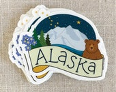 Alaska Vinyl Sticker / Denali / Forget Me Not Flower / Alaska State Gift / Grizzly Bear / Cool Water Bottle Sticker / Alaska Night Sky