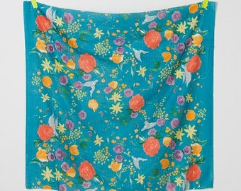 Fukkra Rakuen in Blue (Double Gauze Fabric) by Nani Iro from the 2017 collection for Kokka #KOKJG10370001F by 1/2 yard