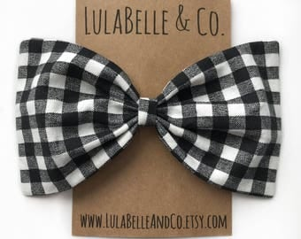 Black and White Buffalo Plaid (Lumberjack) LulaBelle Bow