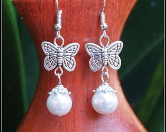 x46 Butterfly Earrings, Pearl earrings