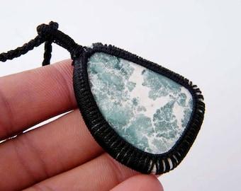 Macrame Jewelry, Grass Green Jasper Pendant,  Macrame Necklace, Handmade Pendant, Boho Jewelry SH-4835