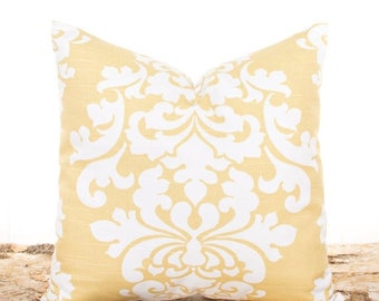 SALE ENDS SOON Yellow Damask Throw Pillow, Yellow Pillow Covers, Sofa Cushion, Yellow and White Pillowcases, Soft Yellow Damask Pillows