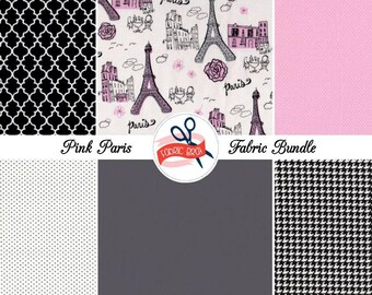 PARIS EIFFEL TOWER Fabric Bundle Fabric by the Yard Fat Quarter Bundle 6 Fabrics Black White Gray & Pink 100% Cotton Quilting Apparel Fabric