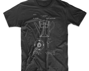 Coffee Percolator 1880 Patent T shirt, Vintage Coffee, Coffee Shop Decor, Diner shirt, Kitchen Shirt, PP0078
