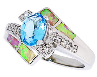 Women Silver Rhodium Plated Pink Simulated Opal Ring Oval Shape Light Blue 13mm(DCTopr67p)