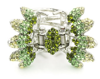 Hair Jewelry Crystal Butterfly Hair Jaws, Green / Free Gift Box(SO5498-gn)