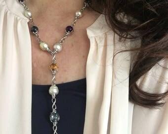 Paspaley South Sea Pearl Genuine Citrine, Amethyst, Blue Topaz Gemstones Station Chain  Necklace
