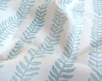 Seaweed Block Print Fabric, Nature Fabric | Block printed plant fabric, botanical fabric, leaf pattern fabric in turquoise, duck egg blue.