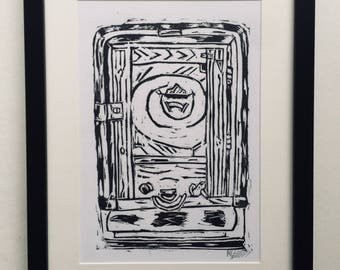 Even A Monkey Can Play This (Black) A4 Linocut Print
