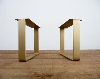 "16""  Flat Brass Table Legs,  Brass Table Legs, Height 12"" - 16"" Set(2)"