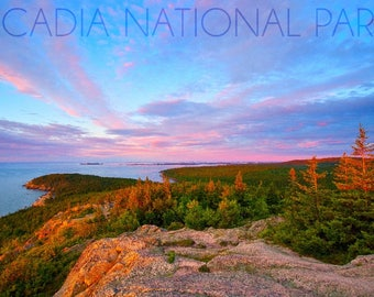 Acadia National Park, Maine - Cadillac Mountain - Lantern Press Photography (Art Print - Multiple Sizes Available)
