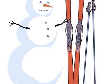 Maine - Snowman with Skis - Lantern Press Artwork (Art Print - Multiple Sizes Available)