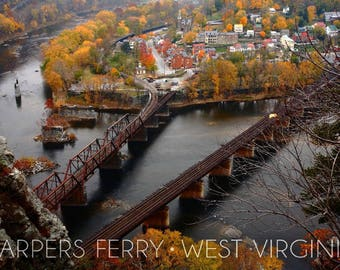 Harpers Ferry, West Virginia - Bird's Eye View - Lantern Press Photography (Art Print - Multiple Sizes Available)