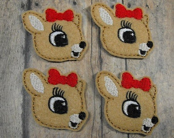 Girl Reindeer felties, felt badge reel, felt planner paper clip, felt key chain, felt hair clip, felt brooch, feltie supplies