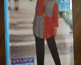 Butterick See & Sew 6463, sizes 12-16, UNCUT sewing pattern, craft supplies, blouse, pants