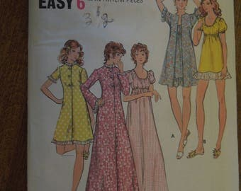 Butterick 6589, size 10, robe and nightgown, misses, UNCUT sewing pattern, craft supplies