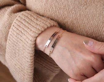 Gold Bar Bracelet, Bridesmaid Gift,Personalized bar bracelet,Custom bracelet,friendship bracelet,Coordinates bracelet,personalized bracelet