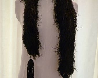 Victorian black feather boa