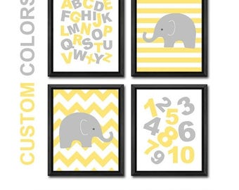 alphabet nursery wall decor yellow gray, ABC nursery elephant, alphabet playroom art, elephant nursery, abc baby room decor, baby gift