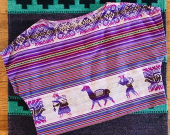 Purple Lavender Handwoven Aguayo Bolivian Crop Wide Neck Top - Llama People print - One Size