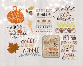DIGITAL DOWNLOAD fall svg bundle Happy Fall Yall svg autumn svg bundle png pumpkin spice silhouette cricut thanksgiving shirt print