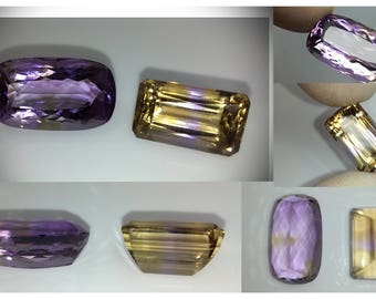 LOT of 2 big AMETRINE -the best on market/weight: 23.05ct + 16.9ct= TOTAL 39.9ct