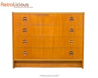 Swedish Teak Chest of Drawers with Inset Pulls G Plan Eames Era