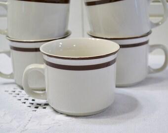 Vintage Elegance II Cup Set of 5 Bavarian Brown Band Stoneware Replacement Made in Japan PanchosPorch