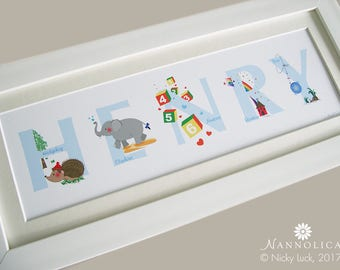 Alphabet Name Art Boys, ABC Personalised Print, ABC Letters, Alphabet wall art, Alphabet personalised print, Name print ABC, As is for