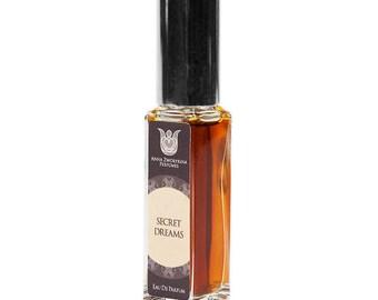 Secret dreams natural eau de perfume, leather and woody,  with Juniper, immortelle, osmanthus, labdanum, castoreum, tobacco, vetiver, Flacon