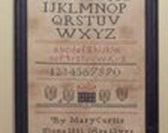 Primitive cross stitch, sampler chart/pattern,primitive needlework, schoolgirl sampler, early American , Mary Curtis