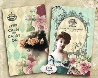 Vintage Greeting Cards - Digital Collage Sheet - Vintage Cards - Decoupage - Embellishment - Printable Sheet - Digital Paper - Gift Cards