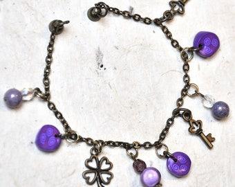 Thin Bracelet bronze and purple millefiori