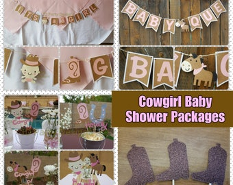 COWGIRL BABY SHOWER Package banners, centerpieces, cupcake toppers