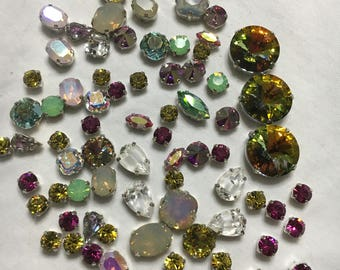 Lot of authentic Swarovski crystal sew on stones silver settings